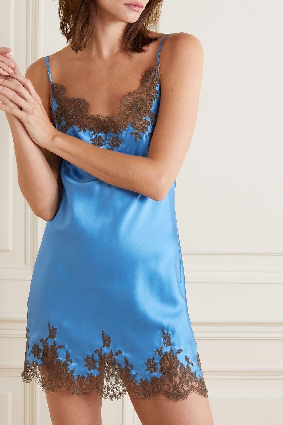 I.D. Sarrieri Chantilly lace-trimmed silk-blend satin chemise