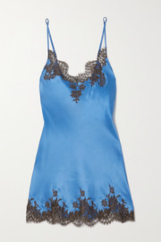 I.D. Sarrieri Chantilly lace-trimmed silk-blend satin chemise