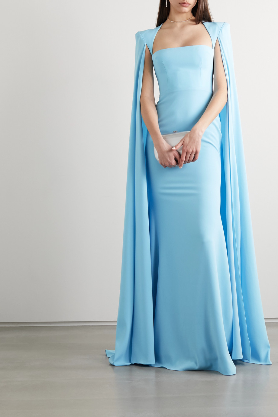 Alex Perry Mia cape-effect crepe gown