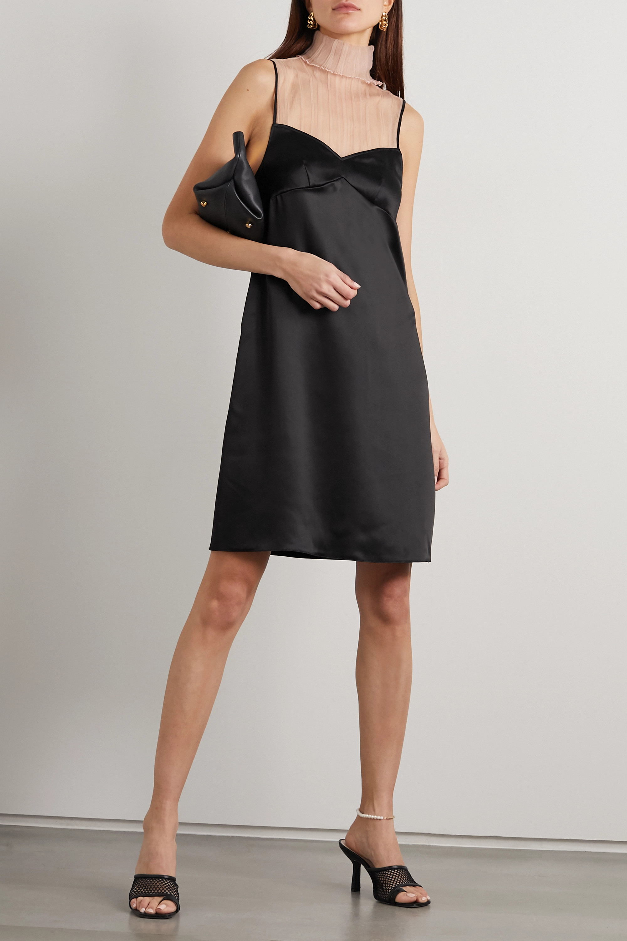 GAUCHERE Pepina pleated mesh and satin turtleneck mini dress