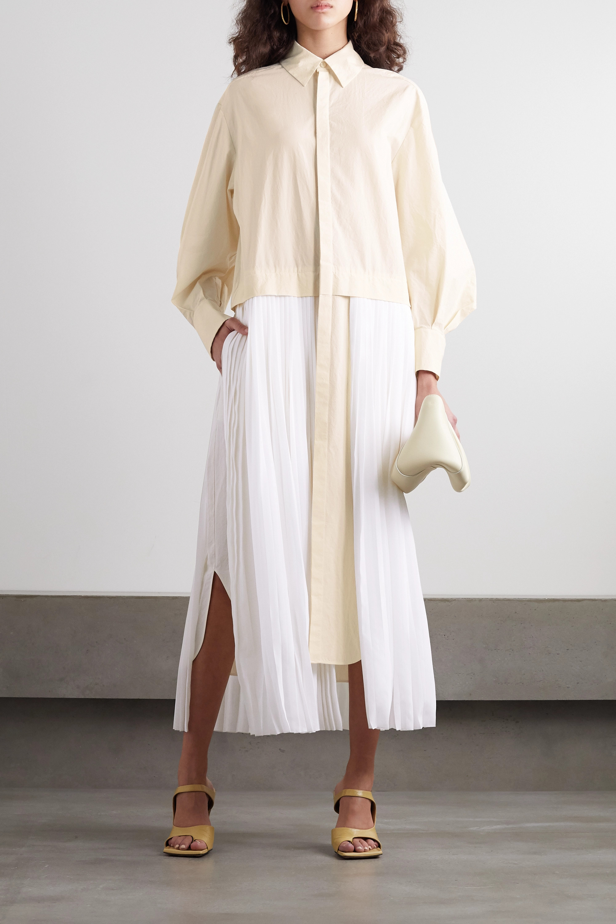 GAUCHERE Pelagia cotton and pleated silk shirt dress