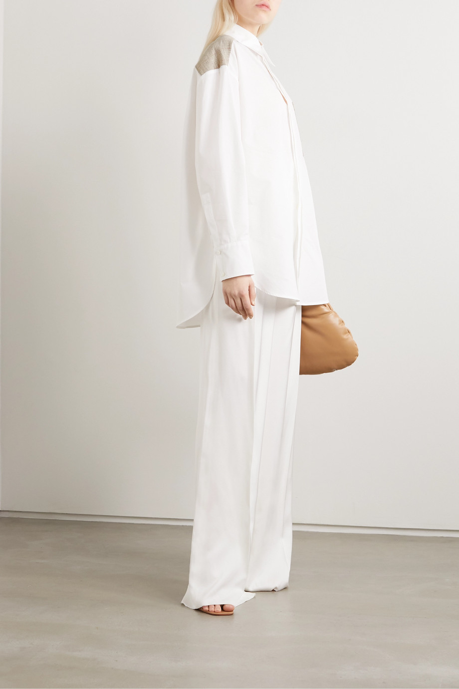 GAUCHERE Pamie oversized canvas-trimmed cotton-poplin shirt