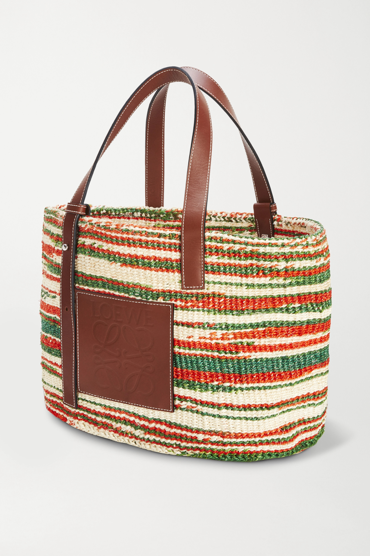 Loewe x Paula's Ibiza 皮革边饰条纹编织拉菲草中号手提包