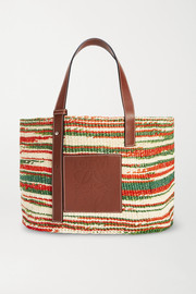 Loewe + Paula's Ibiza medium leather-trimmed striped woven raffia tote