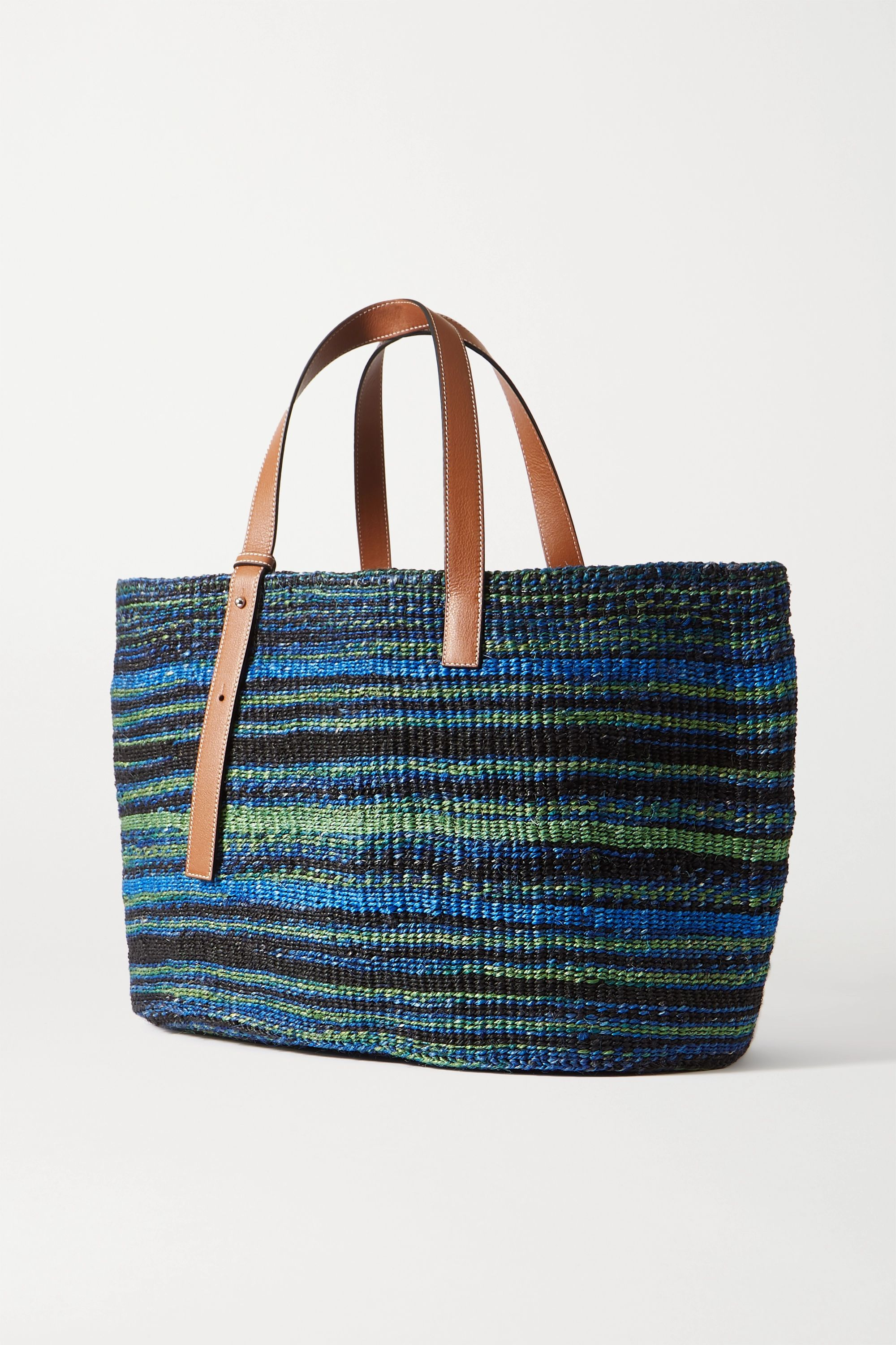 Loewe + Paula's Ibiza large leather-trimmed sisal tote
