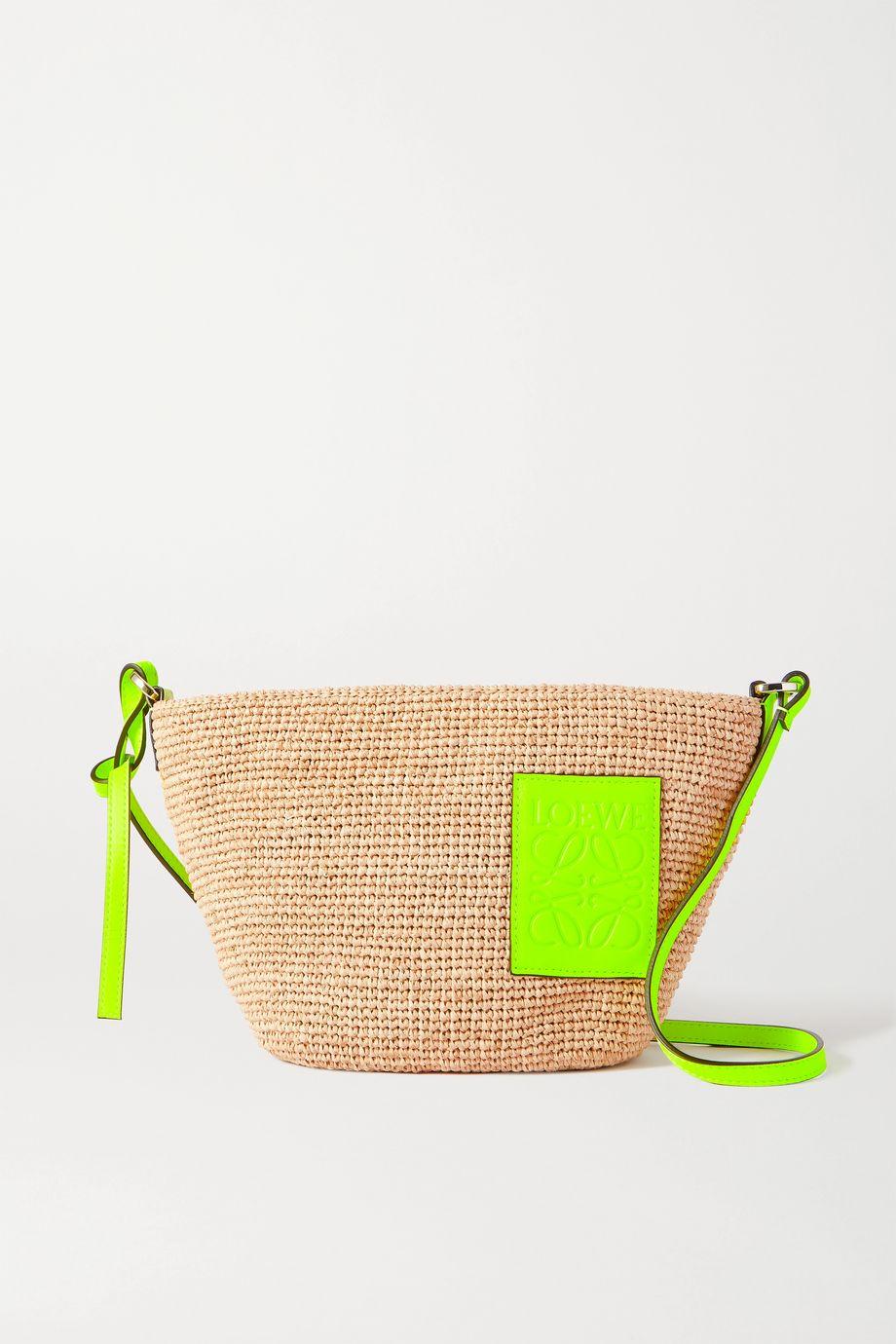 Loewe + Paula's Ibiza Pouchette leather-trimmed woven raffia shoulder bag
