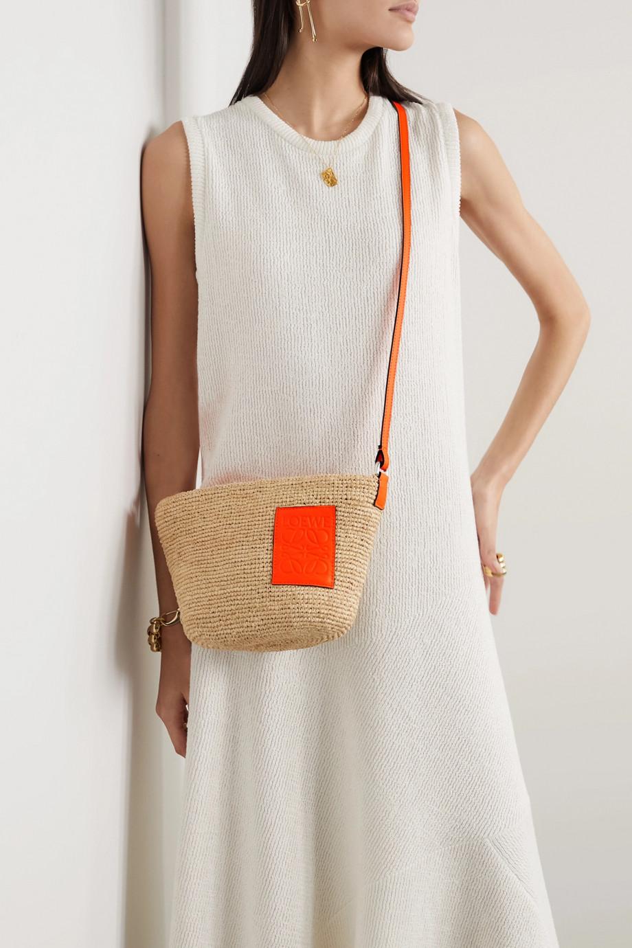 Loewe Sac porté épaule en raphia tressé à finitions en cuir Pochette x Paula's Ibiza