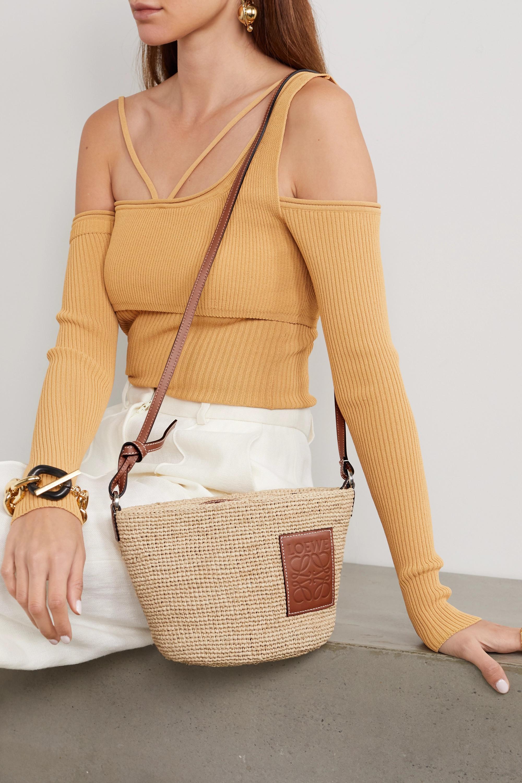 Loewe + Paula's Ibiza Pochette leather-trimmed woven raffia shoulder bag