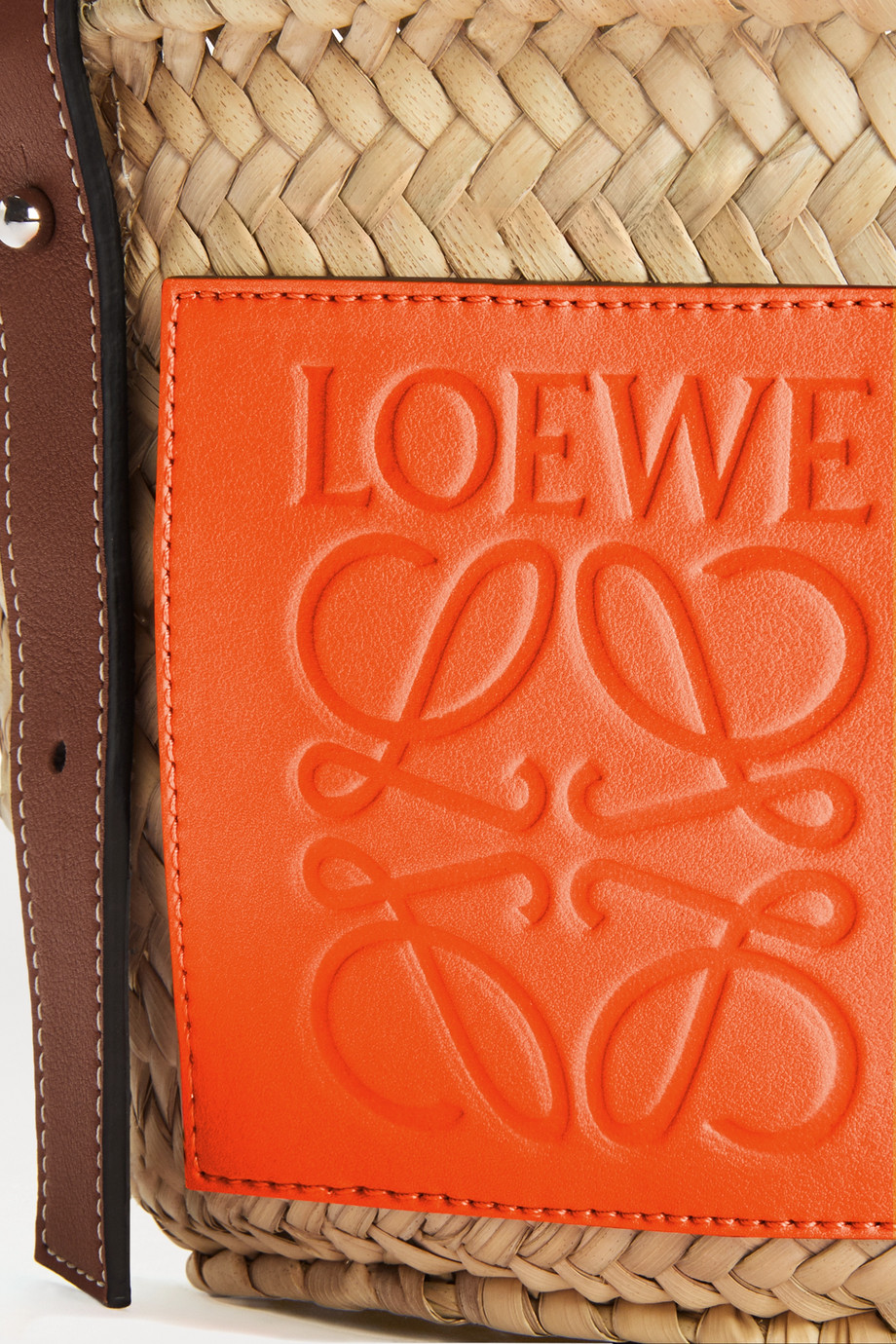 Loewe + Paula's Ibiza small leather-trimmed raffia tote