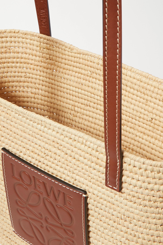 Loewe + Paula's Ibiza small leather-trimmed woven raffia tote
