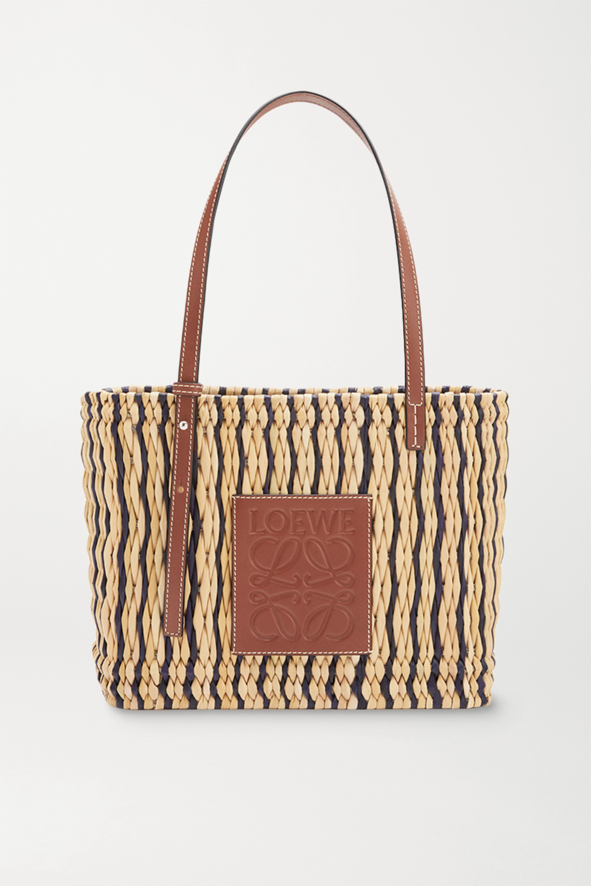 Loewe + Paula's Ibiza small leather-trimmed striped woven raffia tote