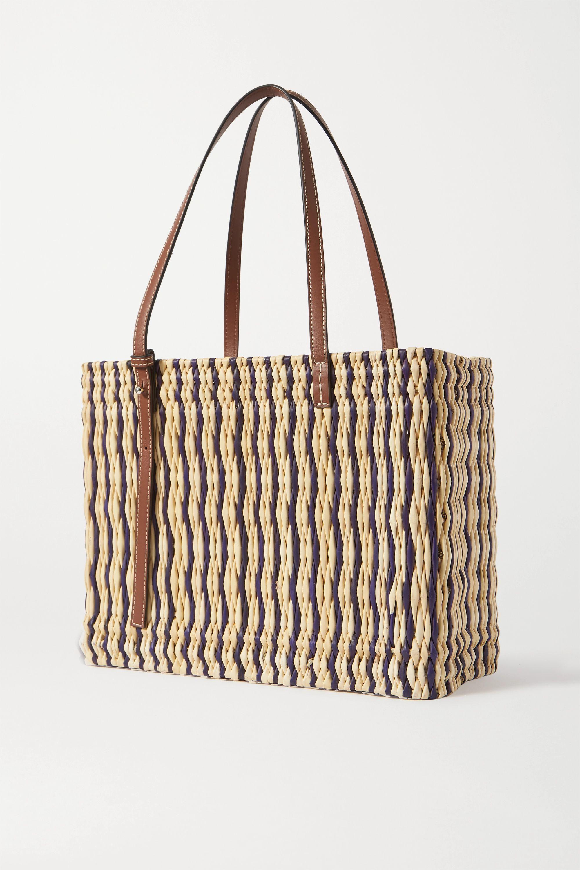 Loewe + Paula's Ibiza medium leather-trimmed striped woven raffia tote