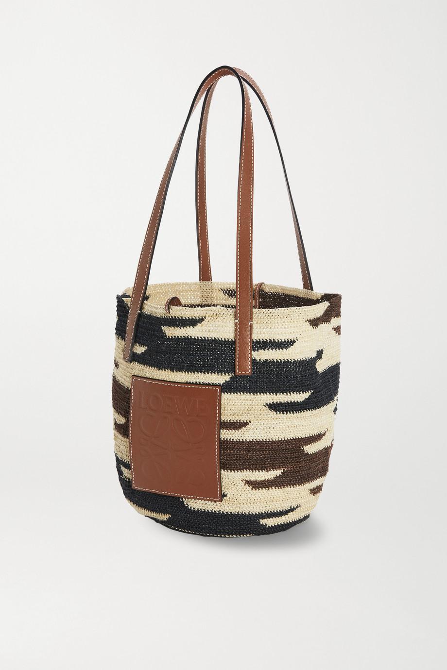 Loewe + Paula's Ibiza Shigra leather-trimmed woven raffia tote