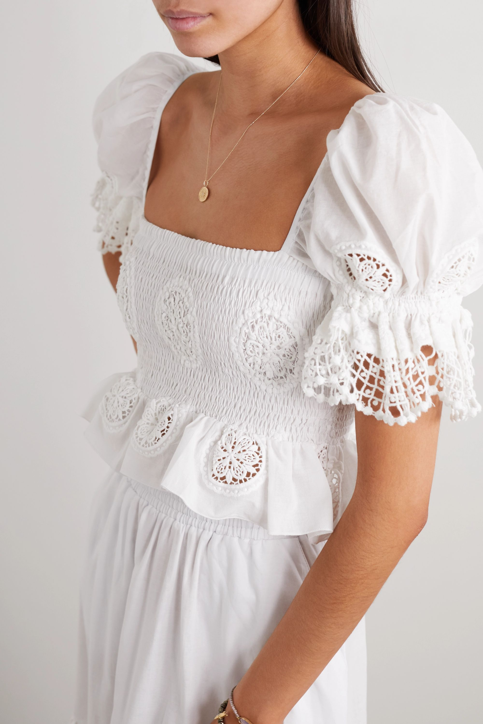 Charo Ruiz Brigette cropped crocheted lace-paneled cotton-voile top