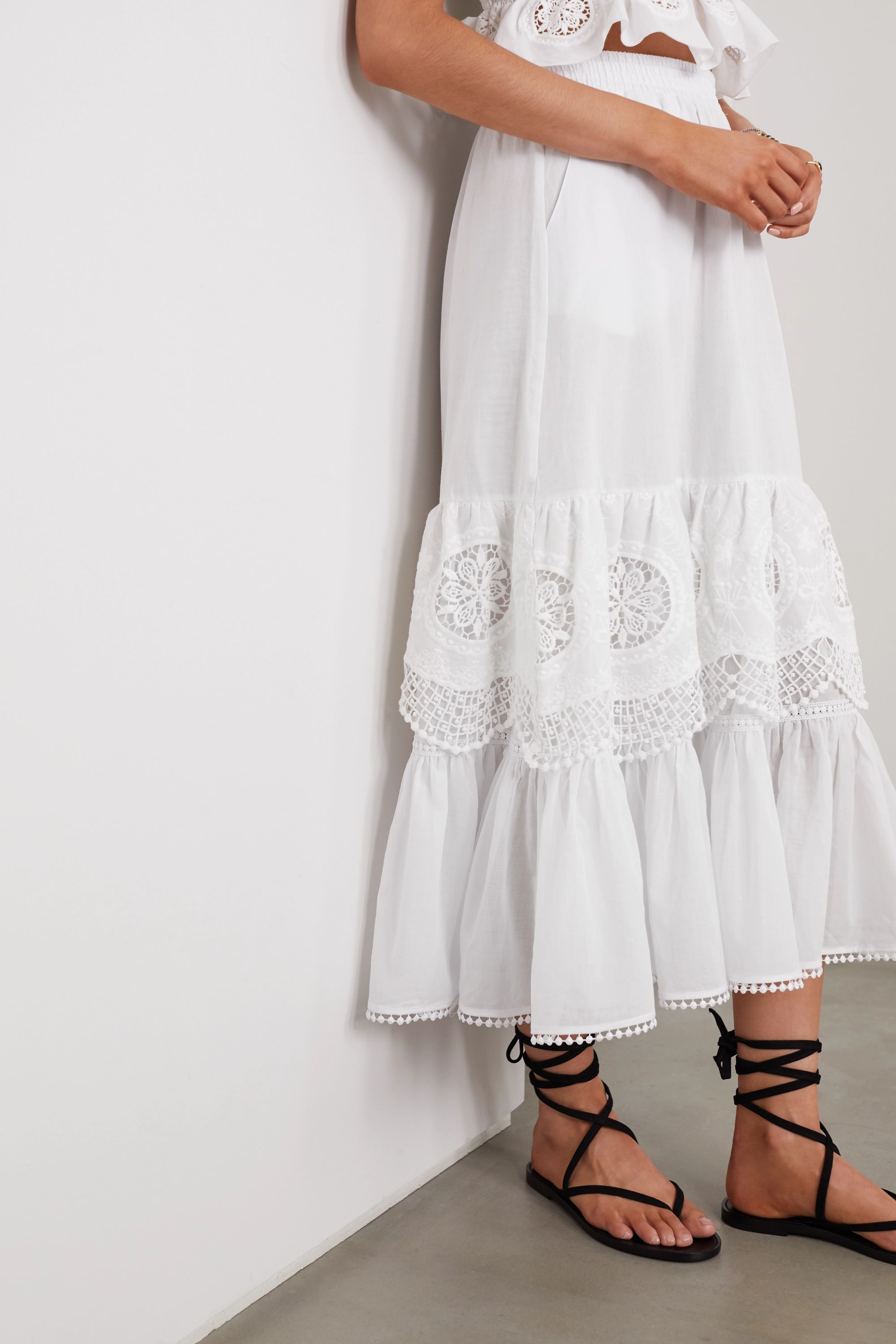 Charo Ruiz Marga crocheted lace-paneled cotton-blend voile midi skirt