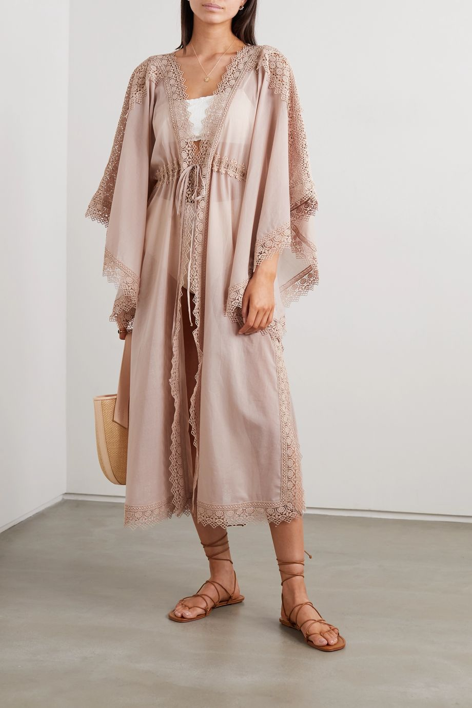 Charo Ruiz Angela crocheted lace-paneled cotton-blend voile robe