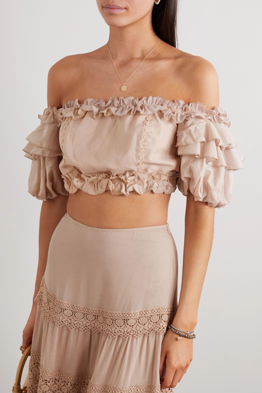 Charo Ruiz Vilma off-the-shoulder ruffled appliquéd cotton-blend voile top