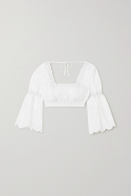 White Hadi cropped crocheted lace-trimmed broderie anglaise cotton-blend top | Charo Ruiz hgVxsn