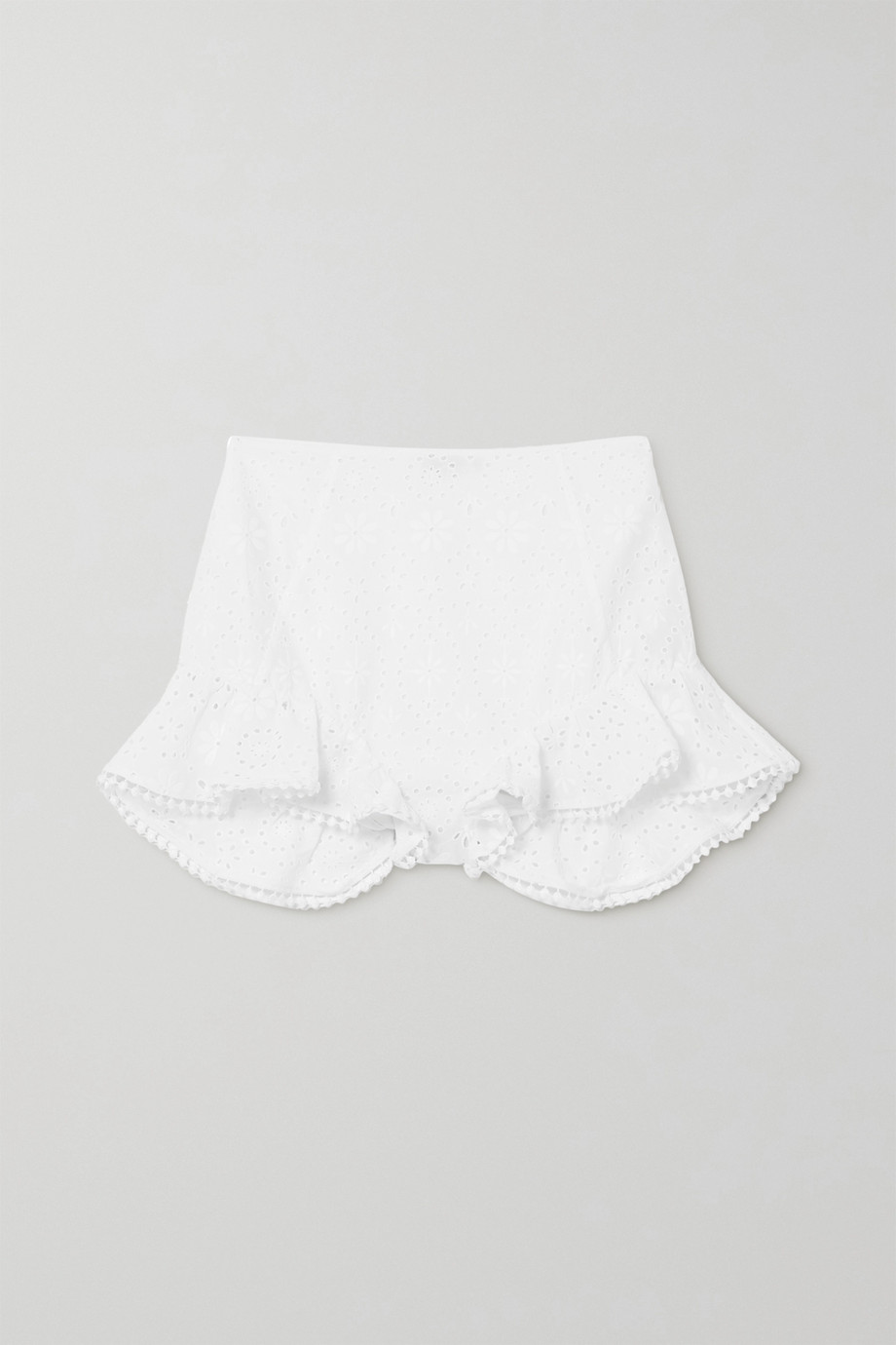 Charo Ruiz Saza crocheted lace-trimmed broderie anglaise cotton-blend shorts