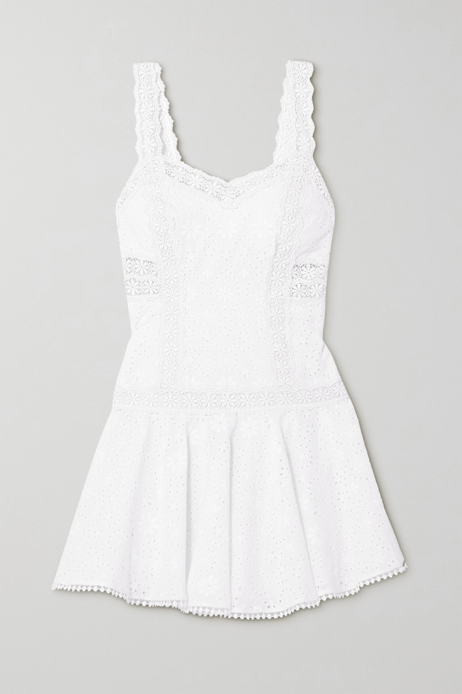Charo Ruiz Biba crocheted lace-trimmed broderie anglaise cotton-blend mini dress