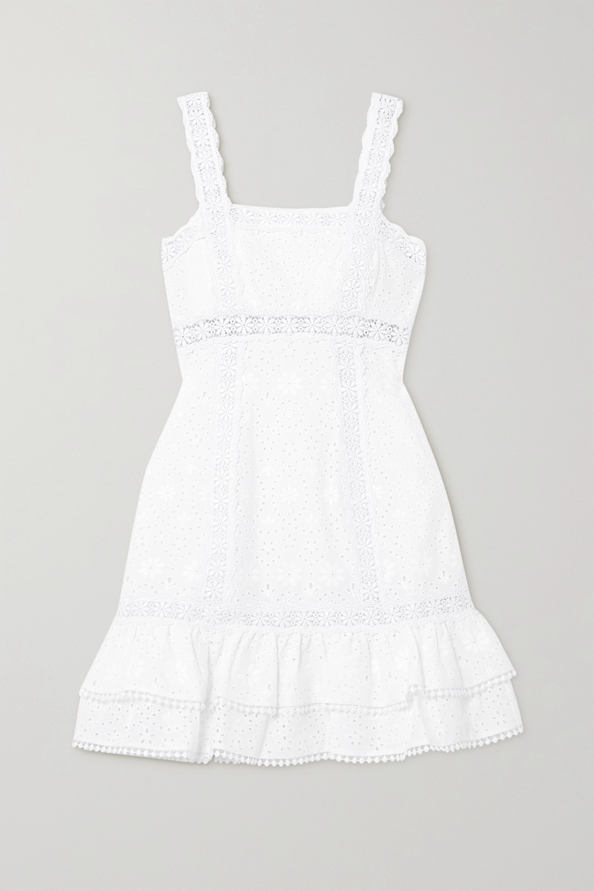 Charo Ruiz Nawa crocheted lace-trimmed broderie anglaise cotton-blend mini dress