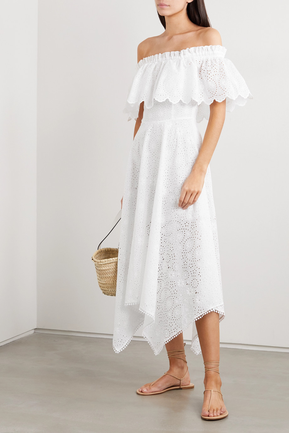 Charo Ruiz Khadi asymmetric off-the-shoulder broderie anglaise cotton-blend midi dress