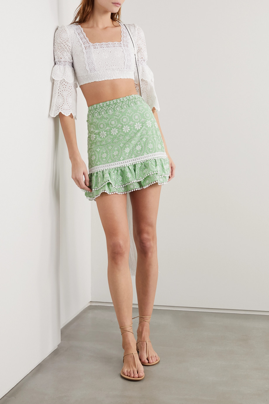 Charo Ruiz Humy crocheted lace-trimmed broderie anglaise cotton-blend mini skirt