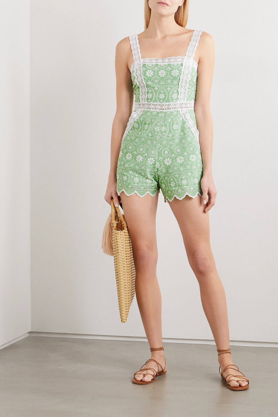 Charo Ruiz Zuma crocheted lace-trimmed broderie anglaise cotton-blend playsuit