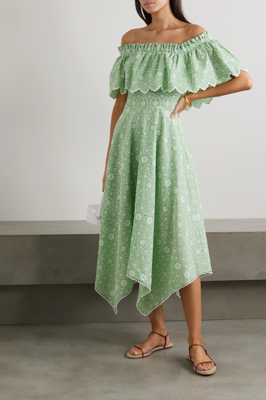 Charo Ruiz Khadi off-the-shoulder broderie anglaise cotton-blend midi dress
