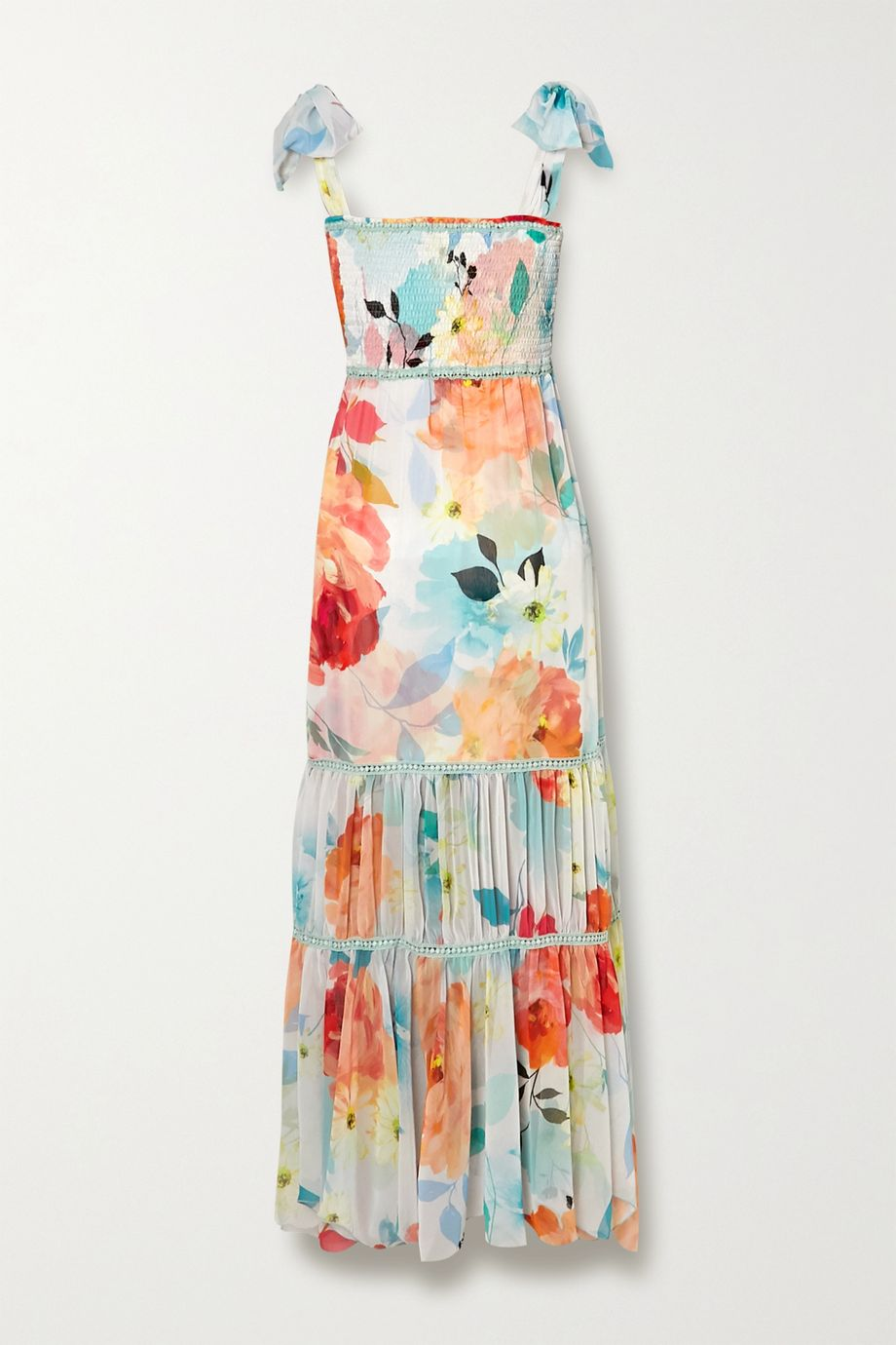 Charo Ruiz Lilian crochet-trimmed shirred floral-print chiffon maxi dress