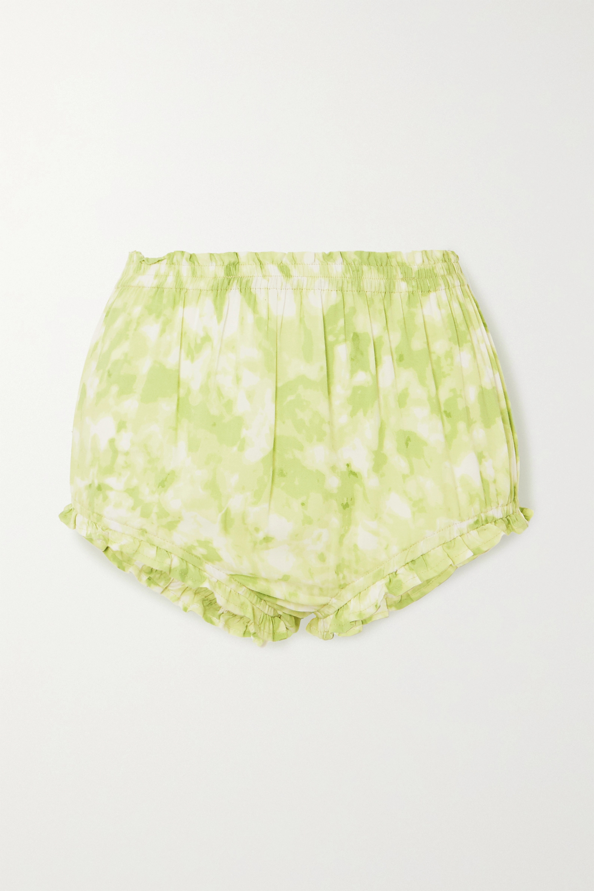 Faithfull The Brand Pampelonne ruched tie-dyed voile shorts