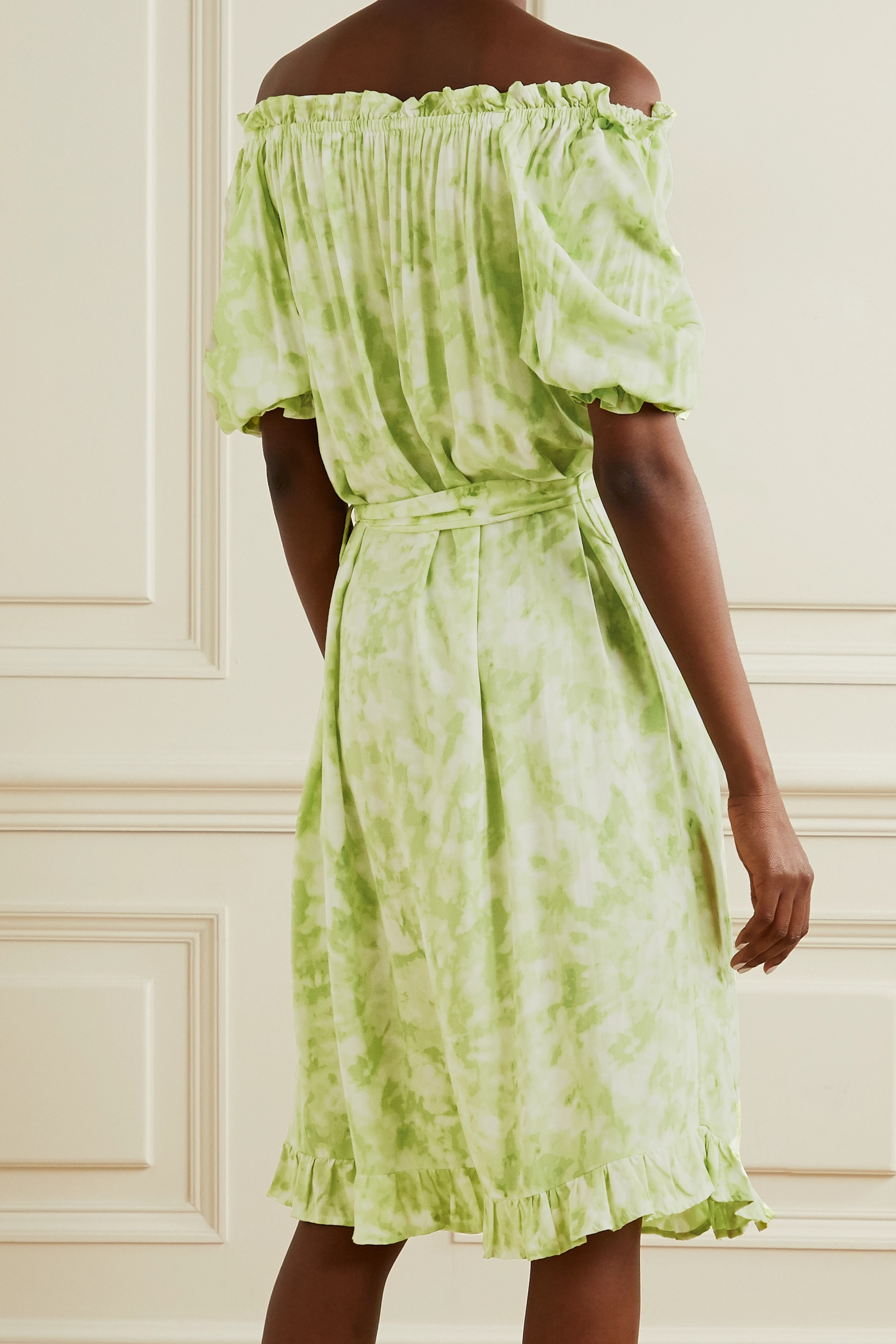 Faithfull The Brand Saint Jean off-the-shoulder ruffled tie-dyed crepe nightdress