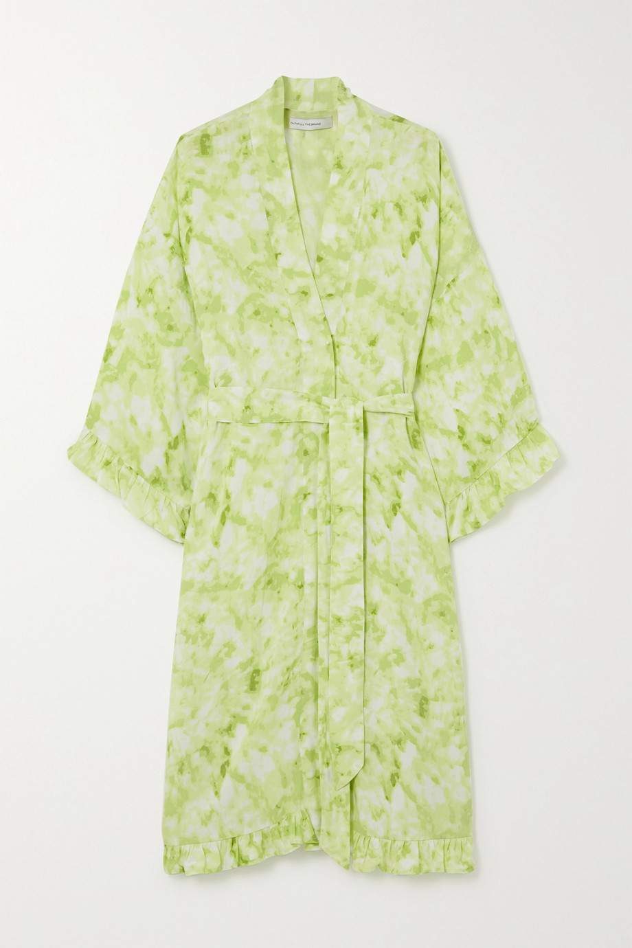Faithfull The Brand Moselle ruffled belted tie-dyed crepe robe