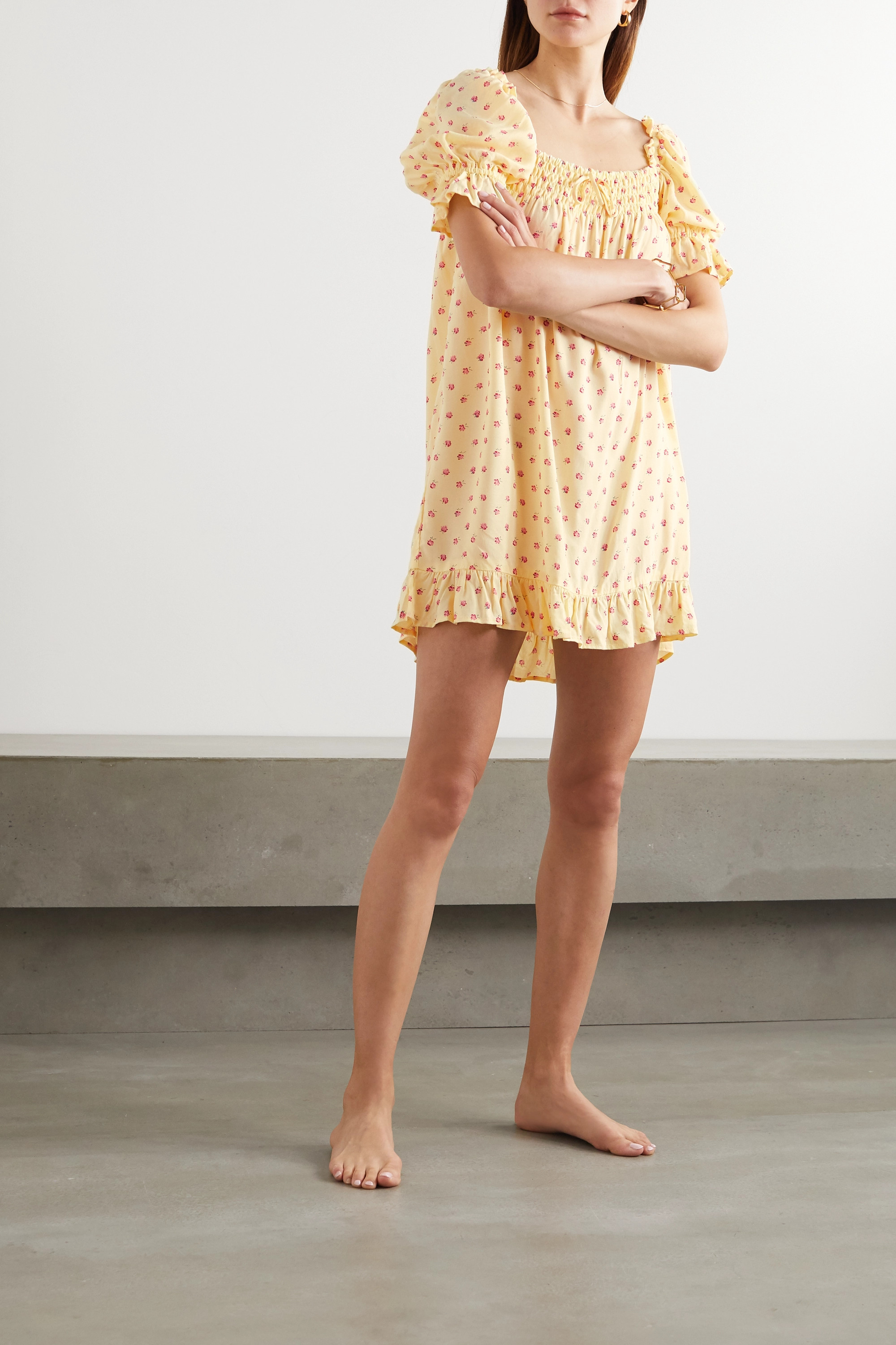 Faithfull The Brand Seine ruffled floral-print crepe nightdress
