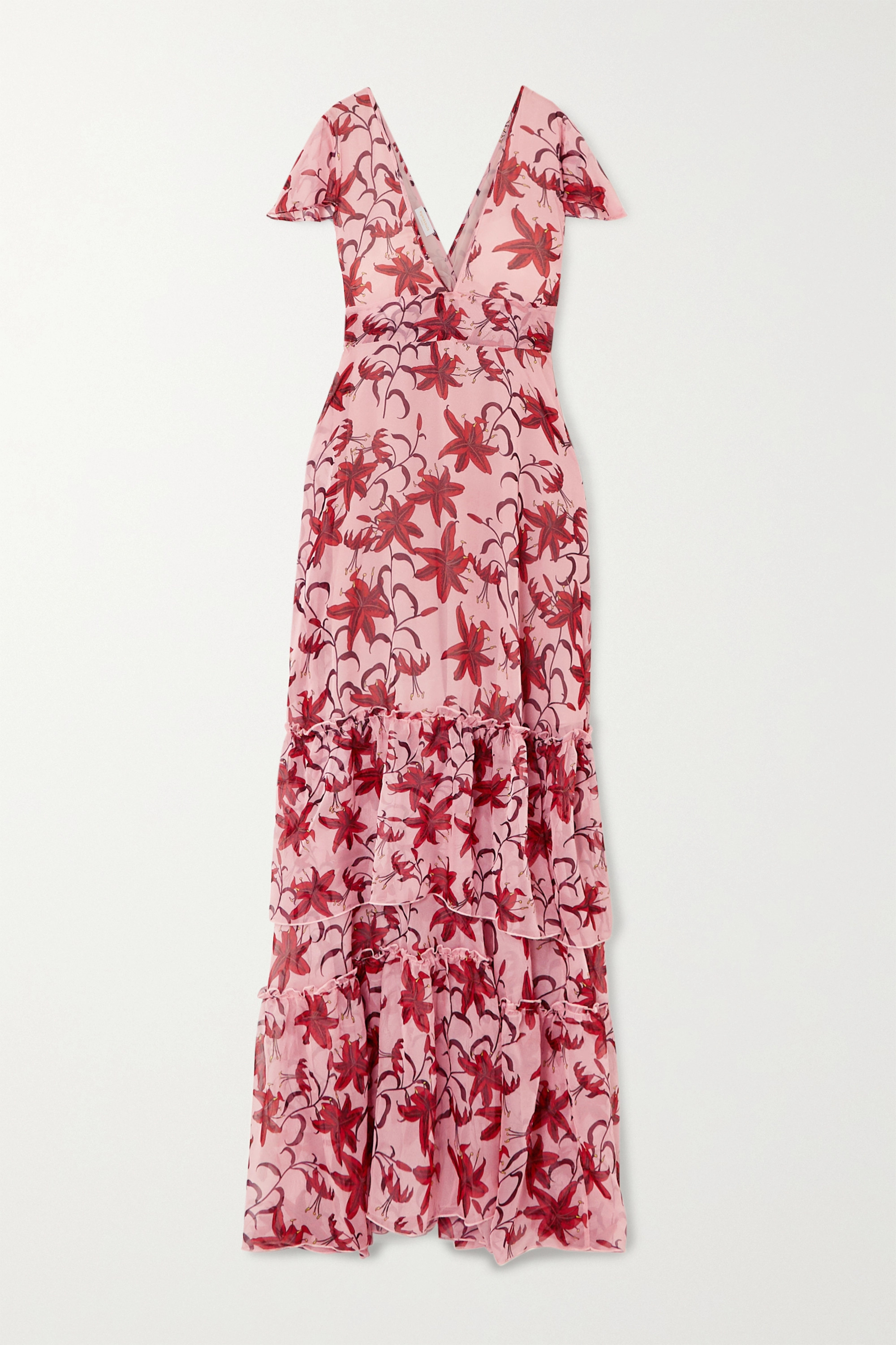 Eywasouls Malibu Kimi tiered ruffled floral-print chiffon dress