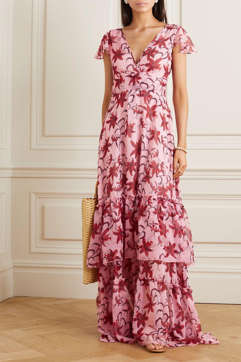 Eywasouls Malibu Kimi tiered ruffled floral-print chiffon dress