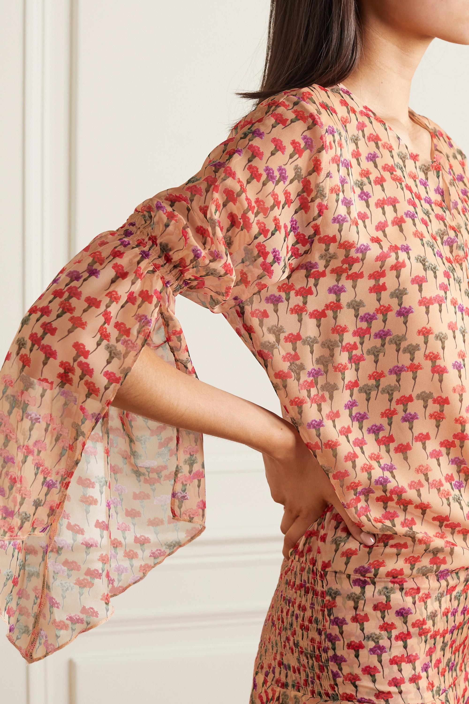 Eywasouls Malibu Claire smocked floral-print chiffon maxi dress