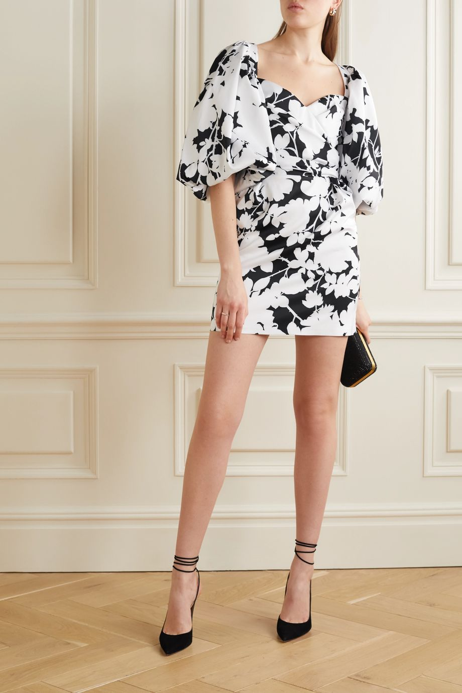 RASARIO Gathered floral-print satin mini dress