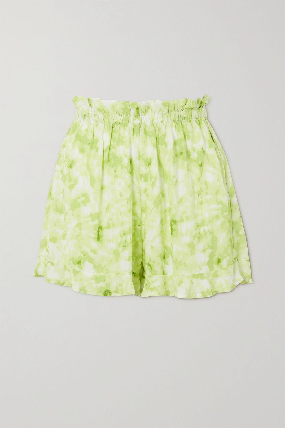 Faithfull The Brand Pampelonne ruffled tie-dyed crepe shorts