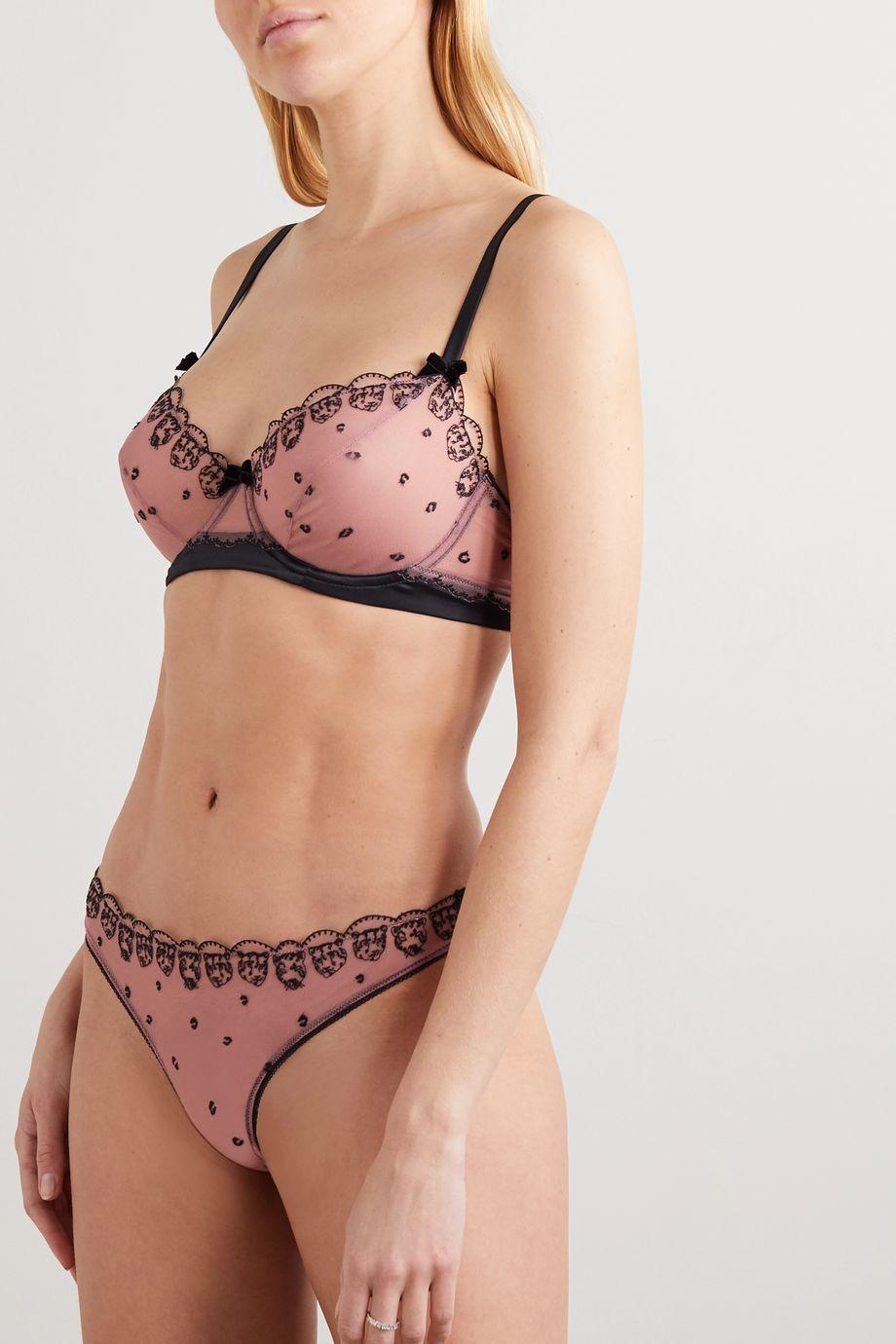 Morgan Lane + Atlanta de Cadenet Taylor Matilda embroidered tulle underwired soft-cup bra