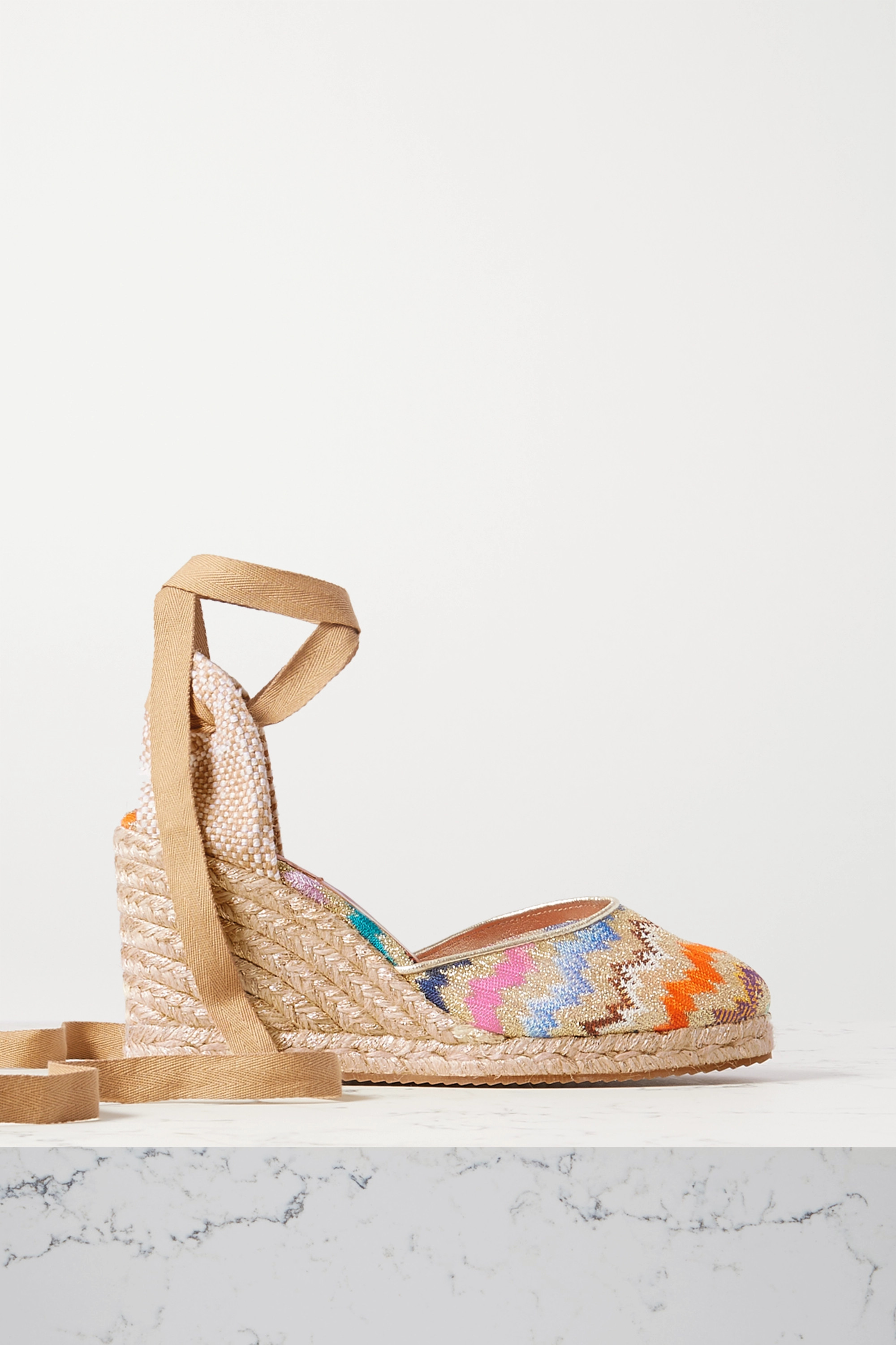 Missoni Metallic leather-trimmed crochet-knit canvas wedge espadrilles