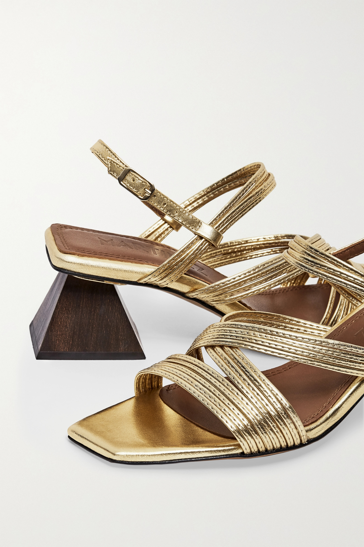 Souliers Martinez Penelope 55 metallic leather slingback sandals