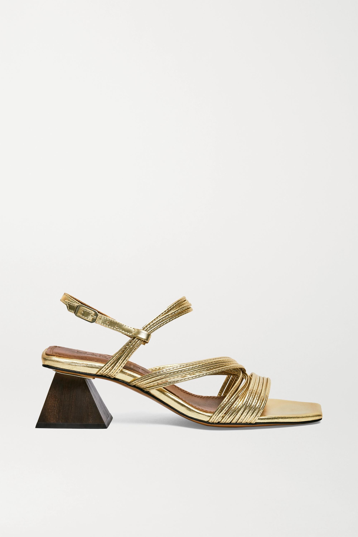 Souliers Martinez Penelope 55 金属感皮革露跟凉鞋