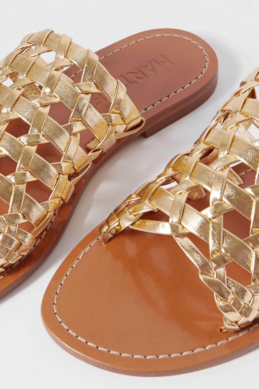 Souliers Martinez Estrella woven metallic leather slides