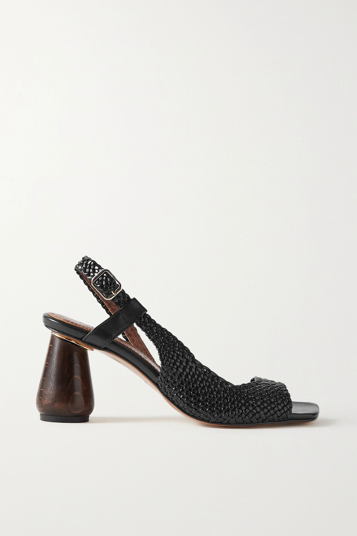 Black Higuera woven leather slingback