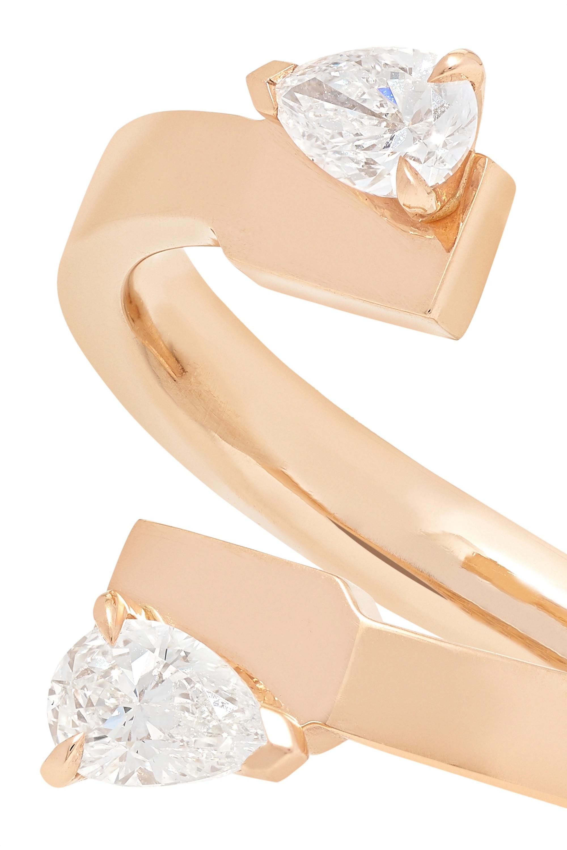 Repossi Bague en or rose 18 carats et diamants Serti sur Vide