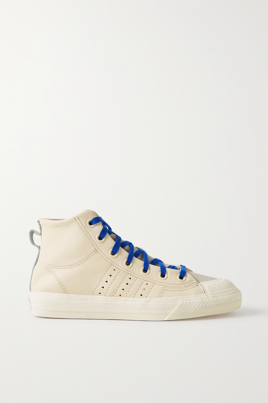 adidas Originals + Pharrell Williams Hu Nizza RF rubber-trimmed leather high-top sneakers