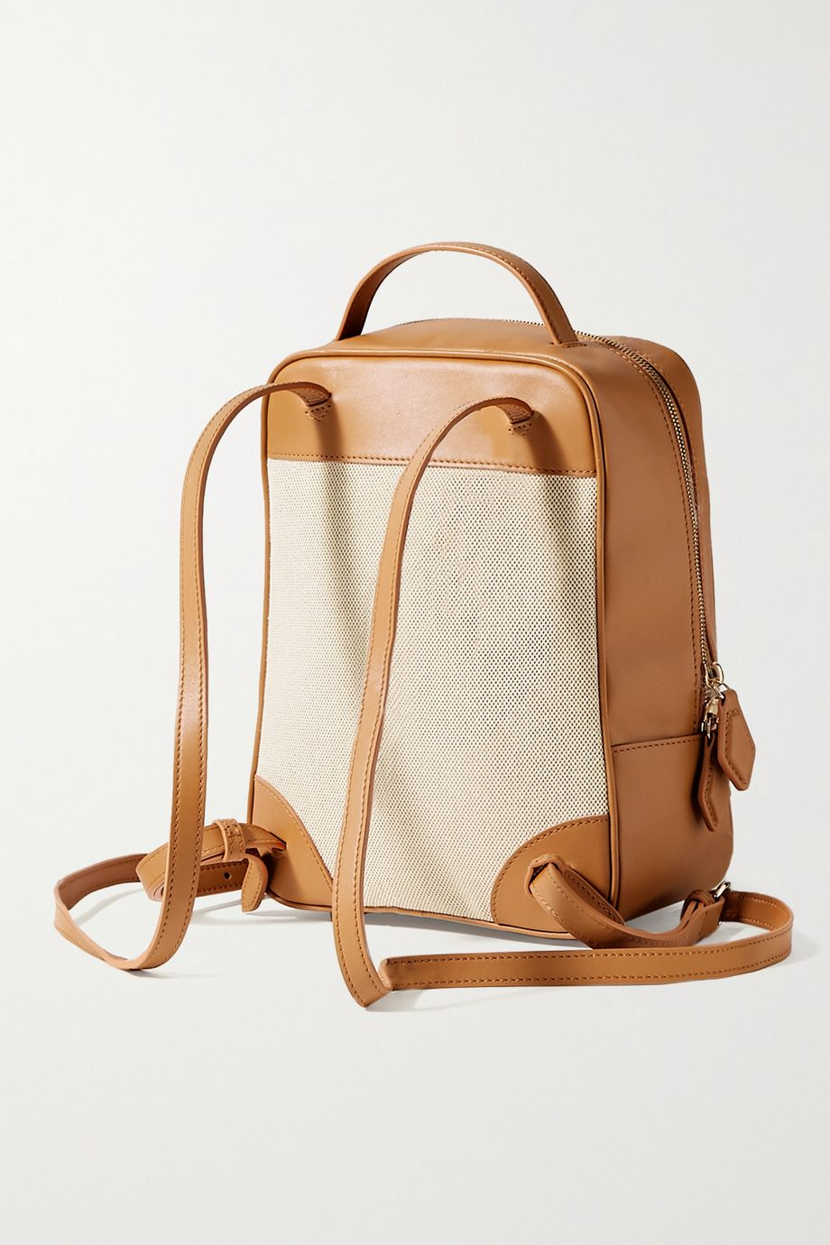 Paravel Mini City leather and cotton-canvas backpack