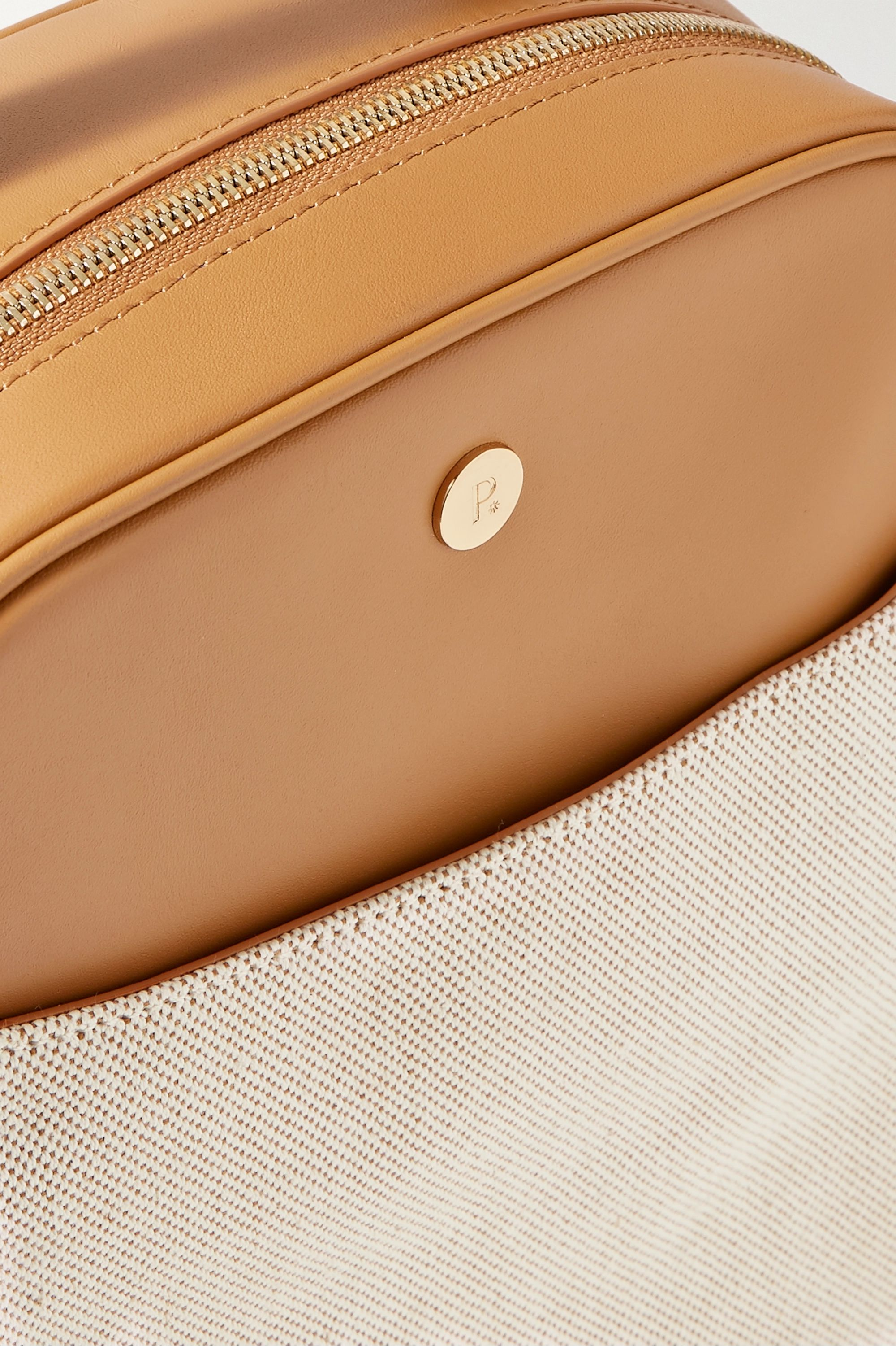 Tan Mini City Leather And Cotton-canvas Backpack   Paravel