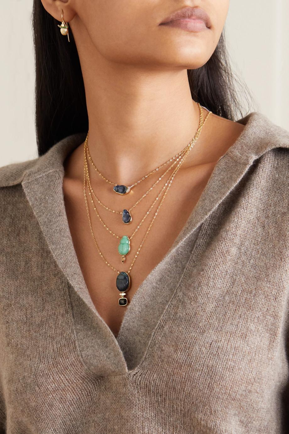 Lito Small Sienna 14-karat gold, labradorite and diamond necklace